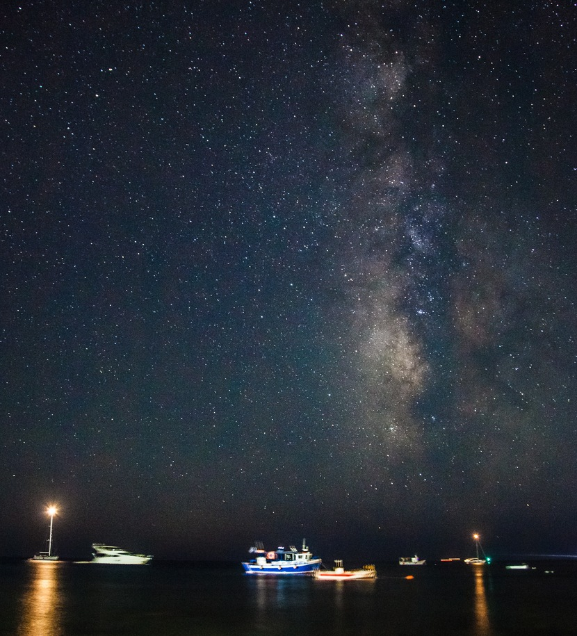 Stars and boats, Santorini, Greece. © Olaf Reinen, Santorini Photo Tours